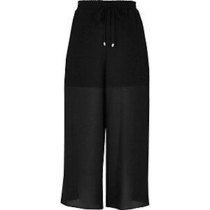 Black panelled chiffon culottes