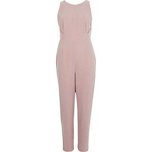 Blush pink plunge back jumpsuit