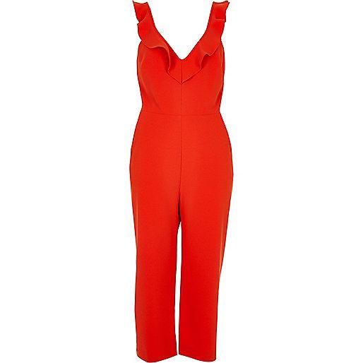 Combinaison style jupe-culotte rouge à bordure volantée