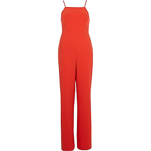 Bright red wide leg jumpsuit