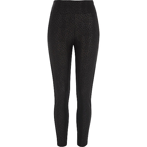Black animal print coated leggings