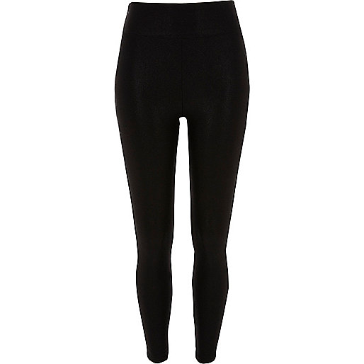 Black high waisted wet look leggings