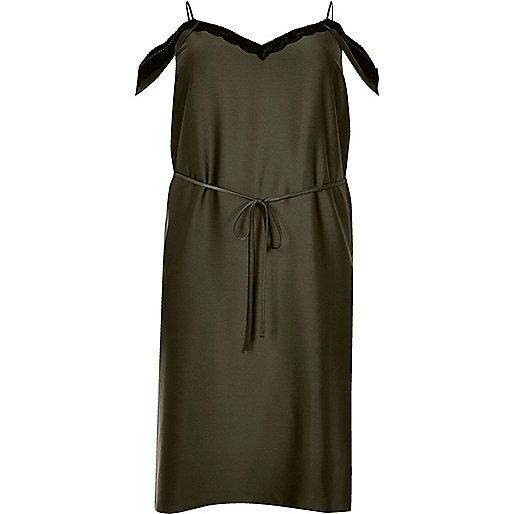 Plus khaki cold shoulder cami slip dress