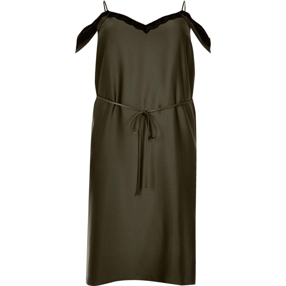 Robe Plus kaki à fines bretelles et épaules dénudées
