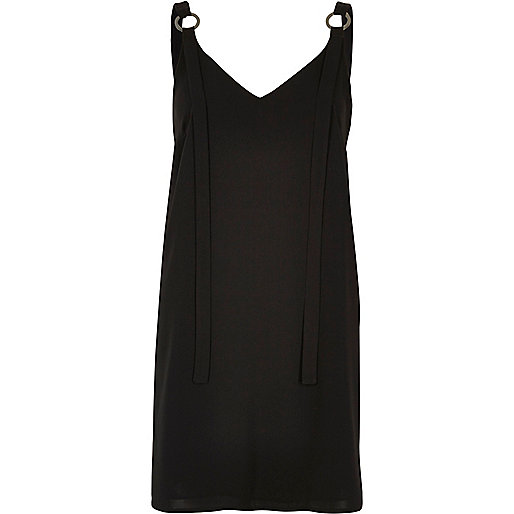 Black ring strap slip dress
