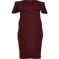 Plus burgundy deep frill bardot bodycon dress