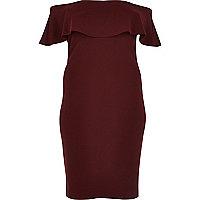 Plus burgundy deep frill bardot bodycon dress