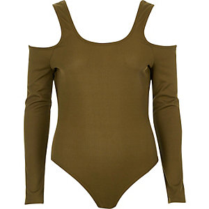 Khaki green cold shoulder scoop neck bodysuit