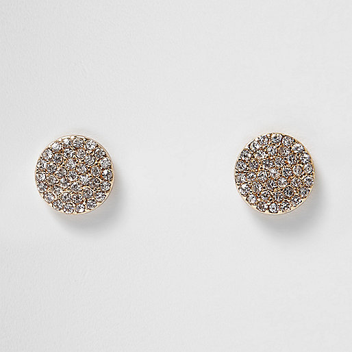Gold tone rhinestone pave circle stud earrings