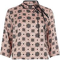 Pink print tied neck satin blouse