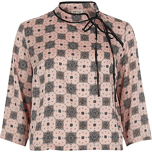 Pink print tied neck satin blouse