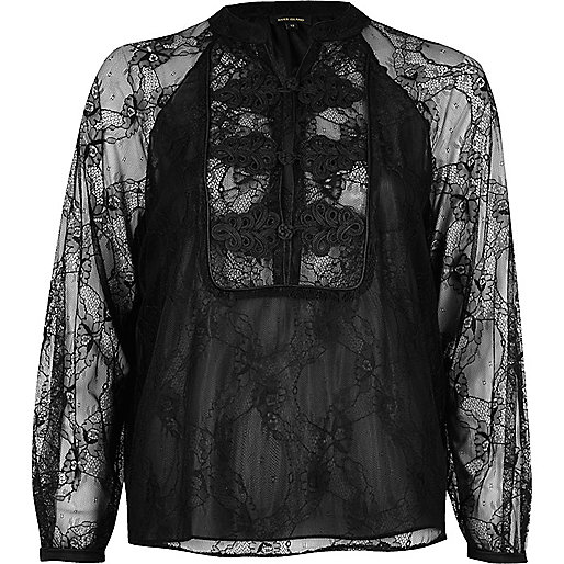 Black lace chiffon blouse