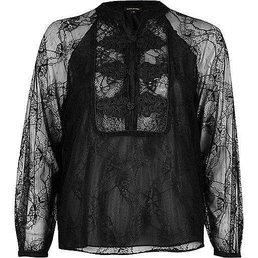 Zwarte kanten chiffon blouse