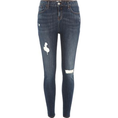 Amelie Dark wash ripped superskinny jeans