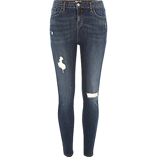 Dark wash ripped Amelie super skinny jeans - jeans - sale - women