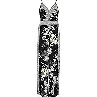 Black floral print embellished jumpsuit