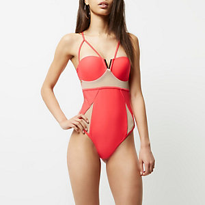 Red mesh insert strappy swimsuit