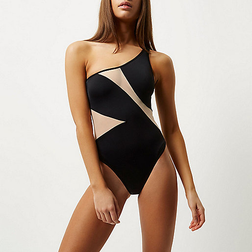Black mesh panel one shoulder swimsuit