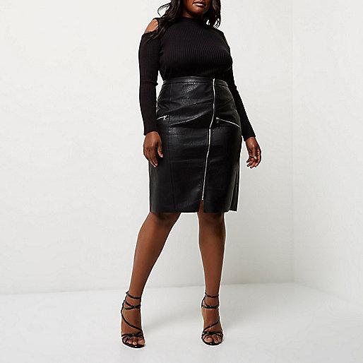 plus black leather look pencil skirt midi skirts