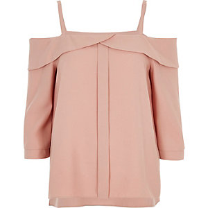 Blush pink foldover cold shoulder top