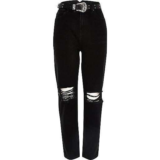 Black ripped western belt Mom jeans