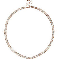 Rose gold tone gem encrusted necklace