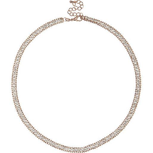 Rose gold tone gem encrusted necklace