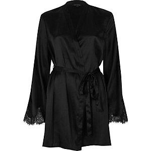 Black satin lace sleeve robe