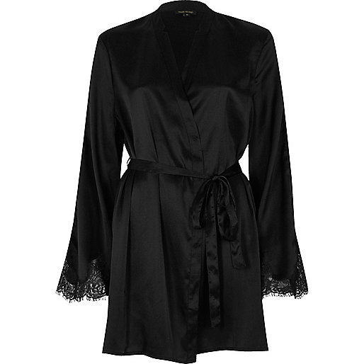 Black satin lace sleeve robe