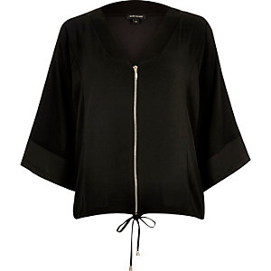 Black zip kimono shirt