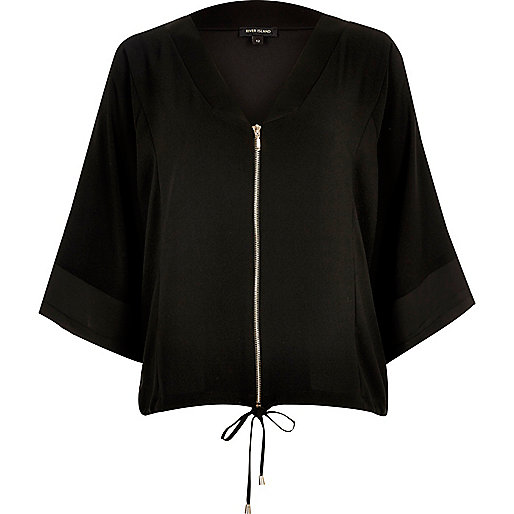 Chemise noire zippée style kimono
