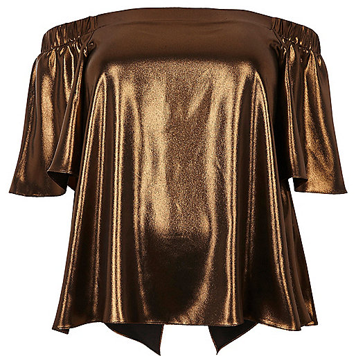 Plus bronze metallic bardot top