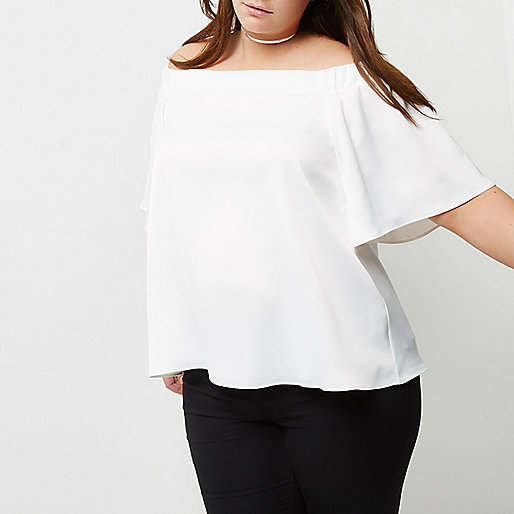 Plus cream bardot top