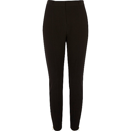 Black soft slim cut trousers