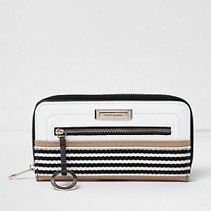 White striped zip around purse