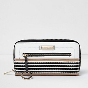 White striped zip around purse