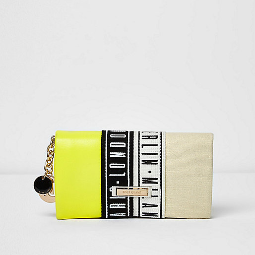 Lime green foldover print purse