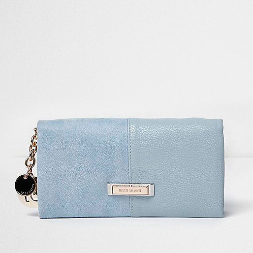 Pale blue soft foldover purse