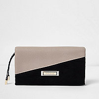 Beige and black asymmetic foldover purse
