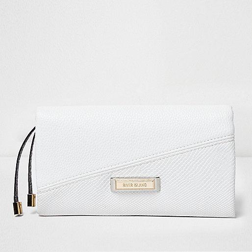 White foldover purse