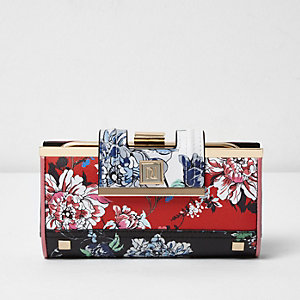 Red floral print clip top purse