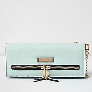 Light green foldover 2 in 1 purse