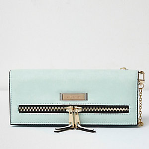 Light green foldover 2 in 1 purse