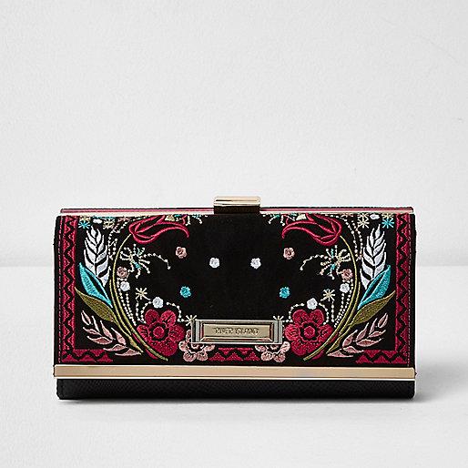 Black embroidered clip top purse
