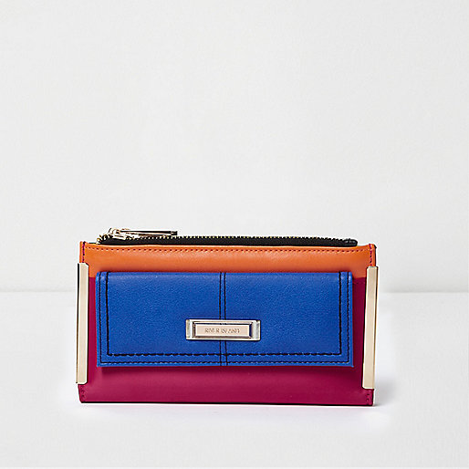 Blue colour blocked zip top purse