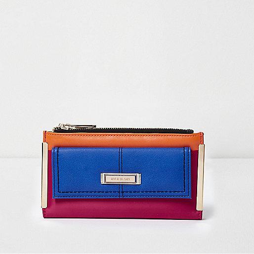 Porte-monnaie colour block bleu zippé