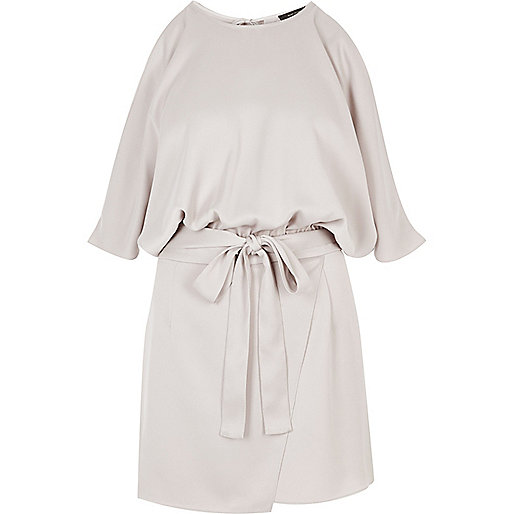 Silver satin cold shoulder romper