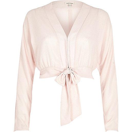 Light pink tied crop top
