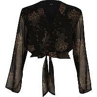 Black floral print tie waist crop top