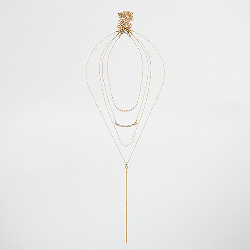 Gold tone barely there layered necklace